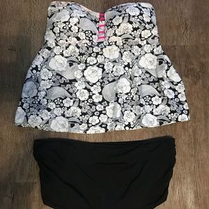 Other - Black White Pink Sleeveless Swimsuit 2 Piece Plus
